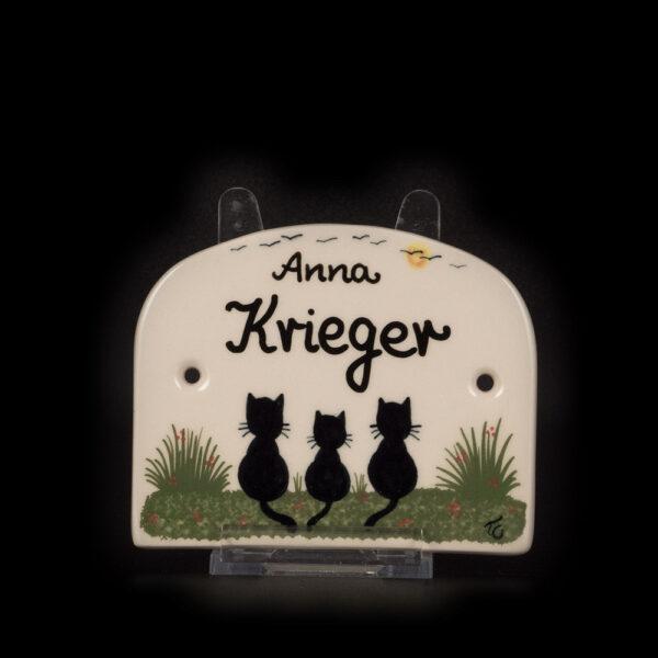 tuerschild mittel drei katzen - katzentassen.de